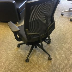 Used Sit On It Black on Black Mesh Office Chairs