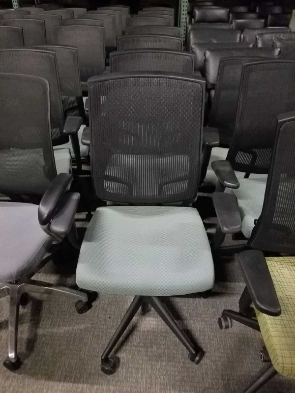 Used Green Fabric Seat Sit On It Mesh Chairs