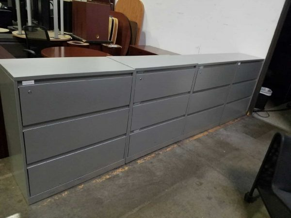 Used Steelcase Gray 3 Drawer File Cabinets