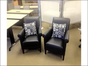 Used Steelcase Black Leather Lobby Chairs