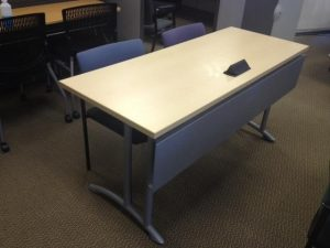 Used Teknion Training Tables with Built In Power and Silver Legs