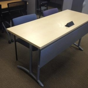 Teknion-Training-Tables-Built-In-Power-Silver-Legs