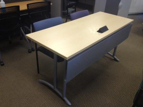 Teknion-Training-Tables-Built-In-Power-Silver-Legs