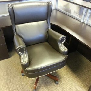 Used Traditional Leather Winged Executive Chairs