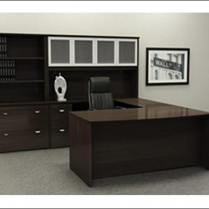 Used U-Shape Desk With Glass Hutch
