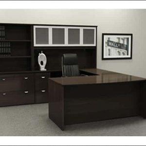 Used U-Shape Desk With Glass Hutch