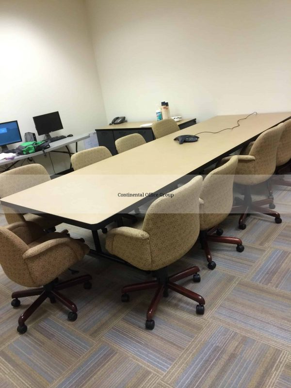 Used 4x12 Conference Table Gold Pinwheel Chairs