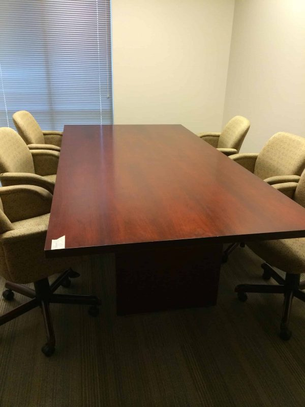 Used 47.5 in X 95 in Wood Conference Table with Gold Pinwheel Chairs