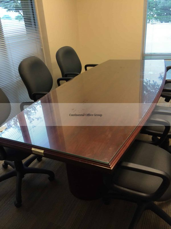 Used Glass Conference Table Dark Grey Chairs