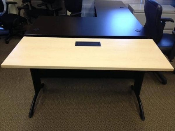Used-Teknion-Training-Tables-With-Built-In-Power-Black-Legs