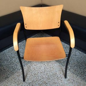 Used Wood Side Chairs with Wood Armrests
