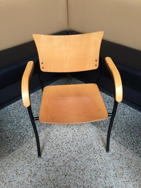 Used Wood Side Chairs with Wood Arm Rests
