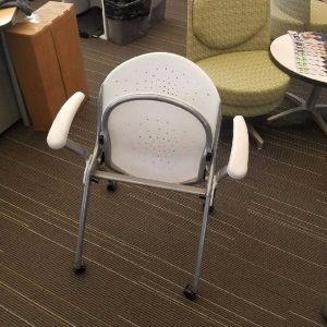 White Nesting Chairs Silver Frame 1