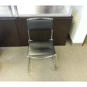 Used Black Leather Stack Chairs