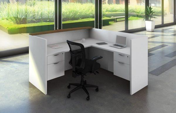White Reception Desk - Return