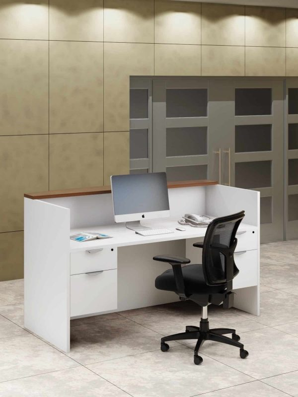 Straight Reception Desk Shell White