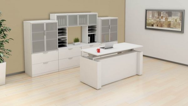 White Executive Height Adjustable Desk New