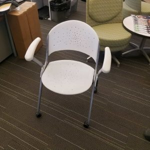 Used Silver Frame White Nesting Chairs