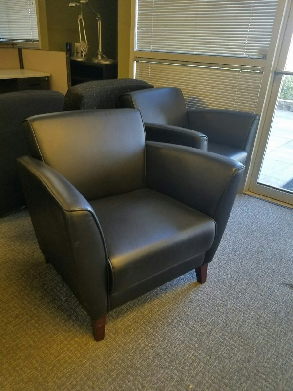 Used Black Leather Club Lounge Chairs