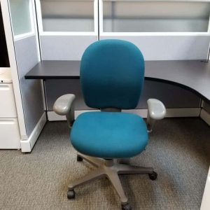Used Herman Miller Ambi Chairs Teal Fabric Gray Frame