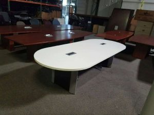 Used 10ft White Conference Table with Two Power Modules