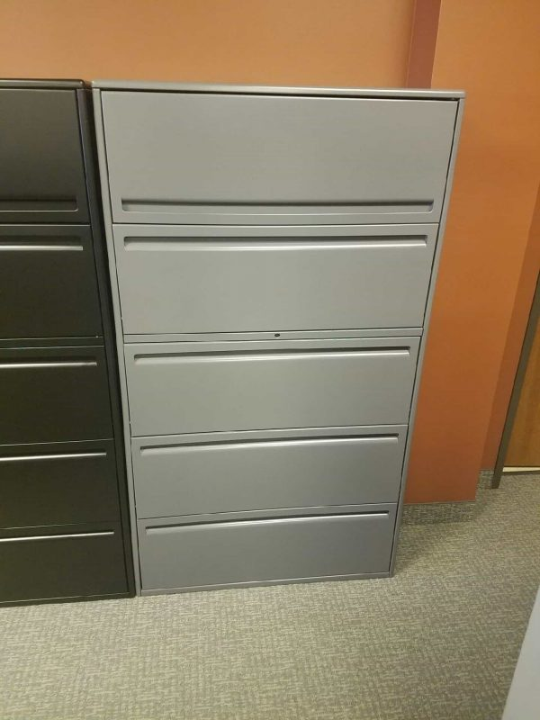 Used Haworth Gray 5 Drawer 36 in Wide File Cabinets