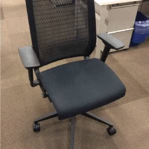 used black fabric Steelcase Think chairs