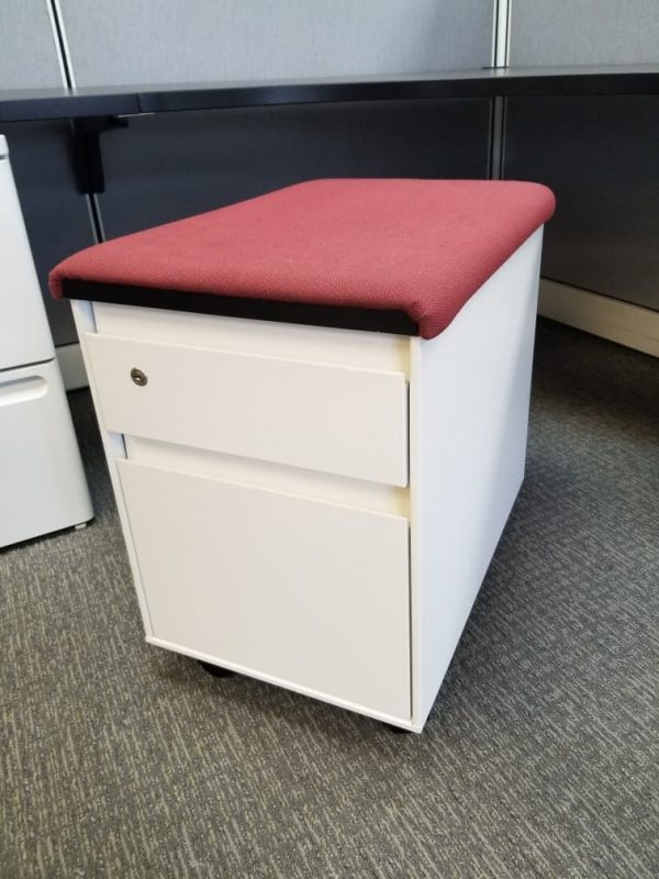 Secondhand Steelcase BF Mobile Pedestals w/ Seat Top Cushion Color: White