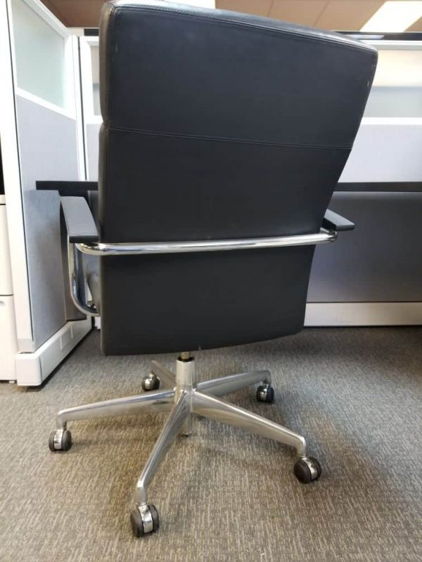 Used black leather office chair