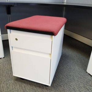 Used Steelcase White Box File Mobile Pedestals with Seat Top Cushion