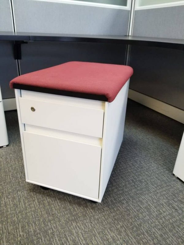 Preowned Steelcase BF Mobile Pedestals w/ Seat Top Cushion Color: White