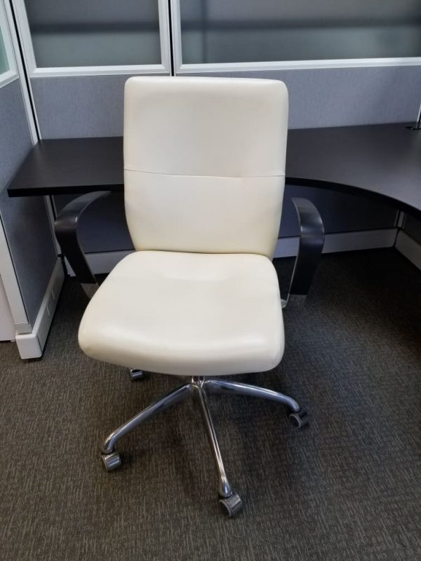 used White Krug Leather Chairs