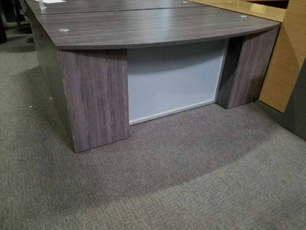Used Gray Bow Reception Desk with Shell 2