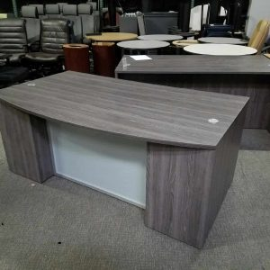 Used Gray Bow Front Desk with Shell