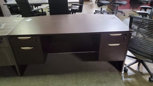 Espresso BOW FRONT DESK WITH DOUBLE HANGING PEDESTAL