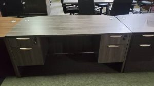 Used GREY BOW FRONT DESK WITH DOUBLE PEDESTALS