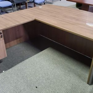 Used WALNUT BOW FRONT DESK WITH ONE HANGING PEDESTAL