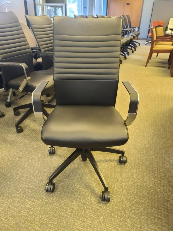 Used High Back Via Leather Conference Chairs