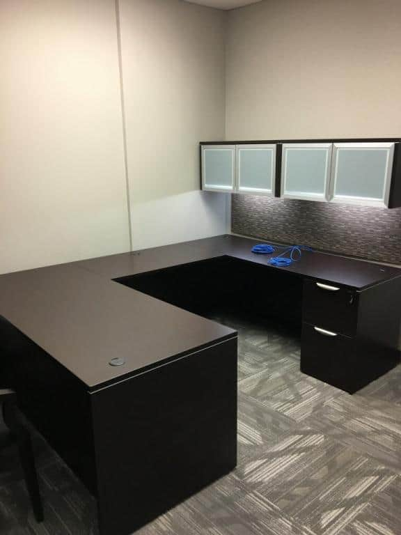 Side View Used Espresso Straight Front U Shaped Desk