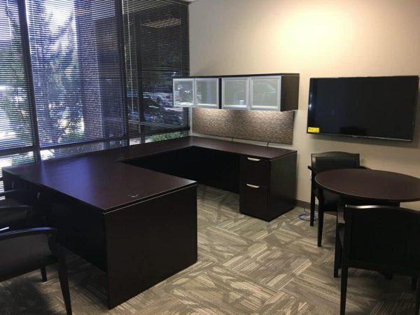 Used Espresso Straight Front U Shaped Desk
