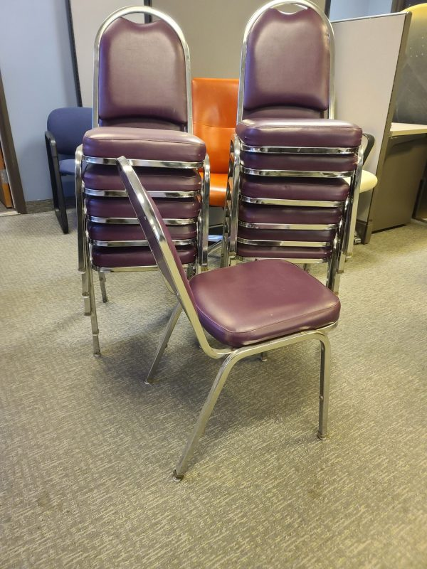 Used Maroon Pleather Seat with Chrome Frame Stack Chairs Side View