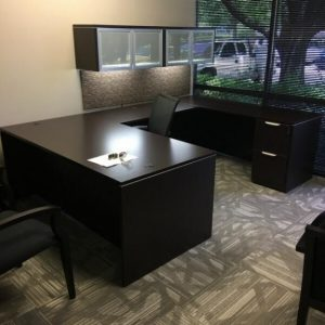 Desk Suite Used Espresso Straight Front U Shaped Desk