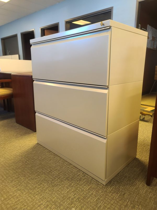 Side View Used Herman Miller 3 Drawer 36in File Cabinet