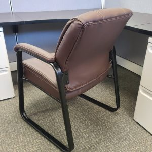 Used Brown Leather Guest Chairs Back