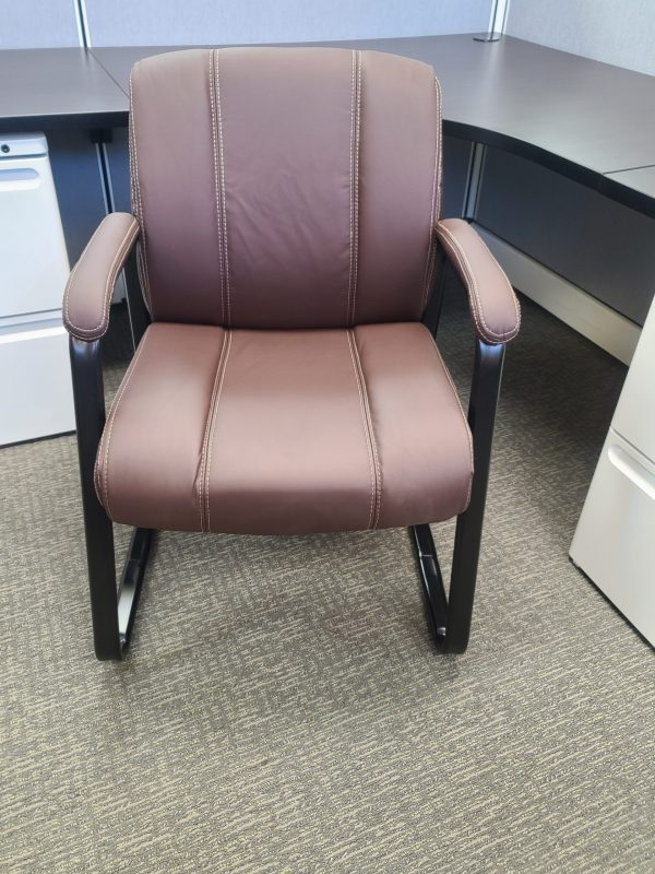 Used Brown Leather Guest Chairs