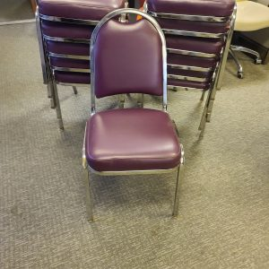 Used Maroon Pleather Seat with Chrome Frame Stack Chairs
