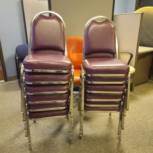 Used Maroon Pleather Seat with Chrome Frame Stack Chairs Stacked View