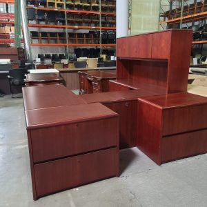 Used National U Shape Desk with Hutch