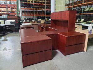 Used National U Shape Desk with Hutch