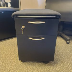 Used Steelcase Black Cushion Mobile Pedestals